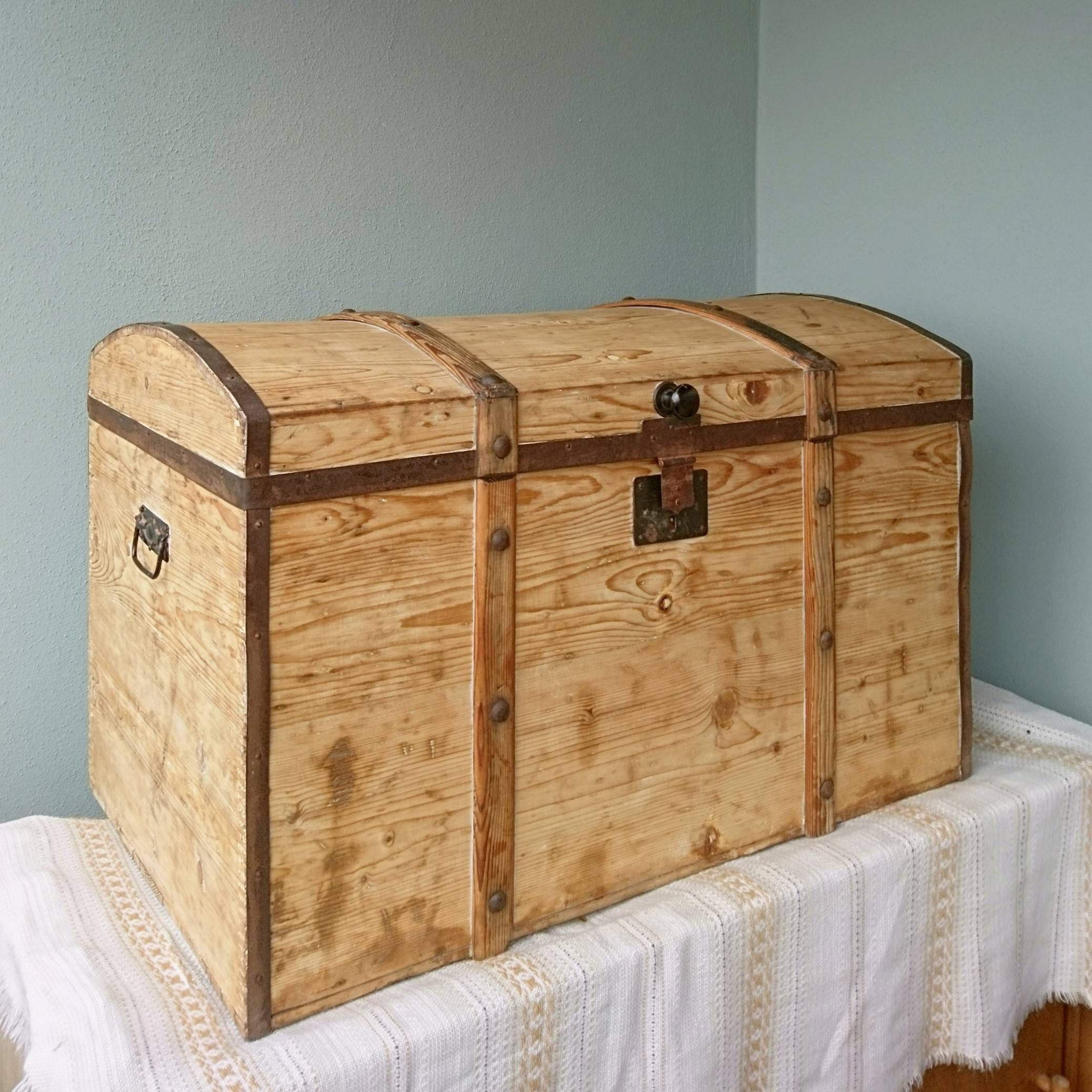 Antique 100 Year Old Chest Of Wood Vintage Wooden Chest Shabby