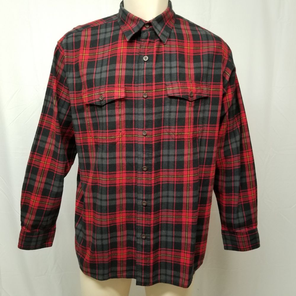 Flannel shirt black and grey  RED HEAD BRAND Black Gray Red Plaid Flannel Shirt  Cotton Mens L
