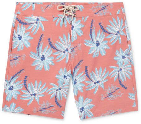 828ac9068345d Faherty Beacon Slim-Fit Long-Length Printed Swim Shorts | Products ...