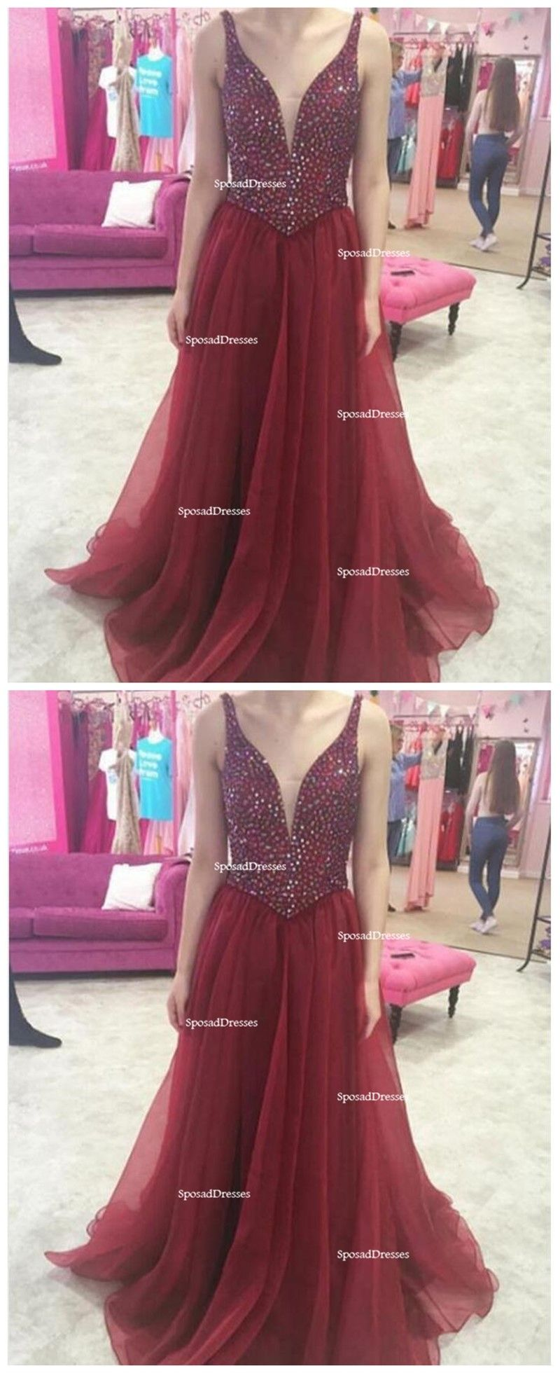 Two straps heavily beaded dark red a line long evening prom dresses