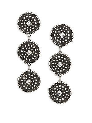 DANNIJO Rossi Crystal Drop Earrings - Silver