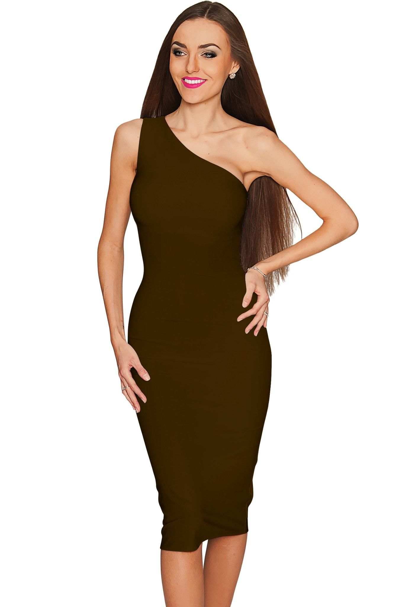 Chocolate One Shoulder Dress