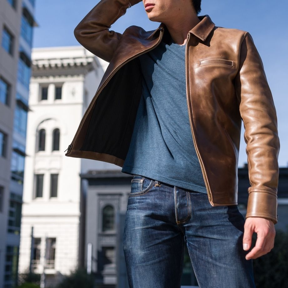 Gustin L1 Leather Jacket in Horween Chromexcel Natural