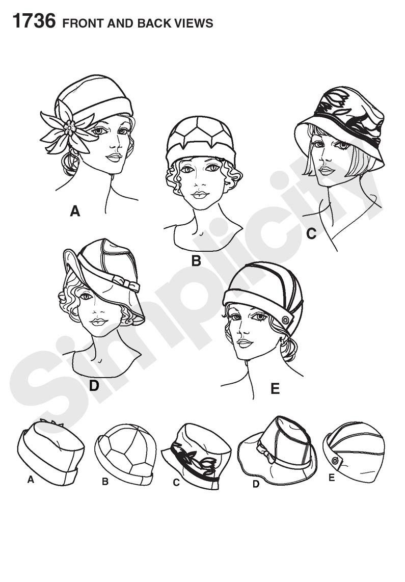 S1736 Misses\' hats in three sizes | Vintage 1920s | hat patterns in ...