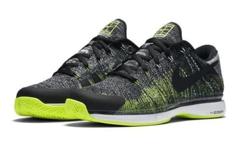 Nike Zoom Vapor Flyknit Mens Tennis Shoes Black Volt White ...