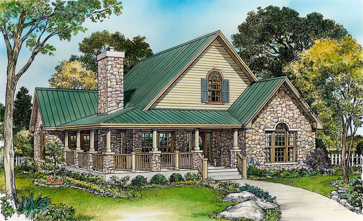 Large Loft with Full Bath Country style house plans