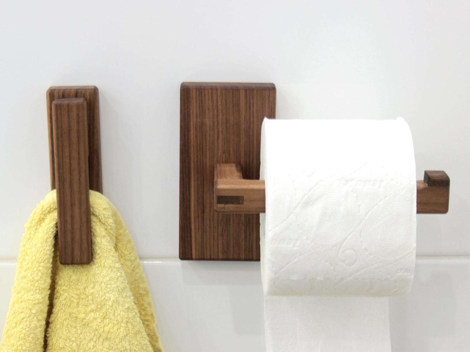 Walnut Toilet Paper Holder And Wood Towel Holder Bathroom Set Minimalist Bathroom Accessoires In 2021 Wood Towel Holder Towel Holder Towel Holder Bathroom Bathroom towel bars and toilet paper holders