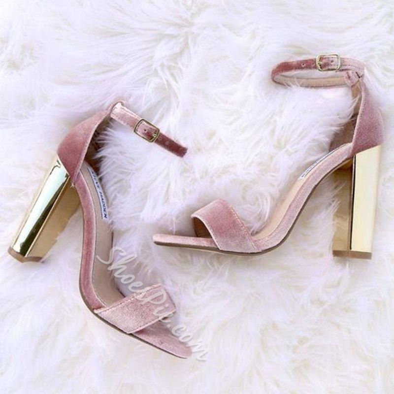 5c49c15f4c1 Shoespie Cute Pink Velvet Open Toe Chunky Heel Sandals
