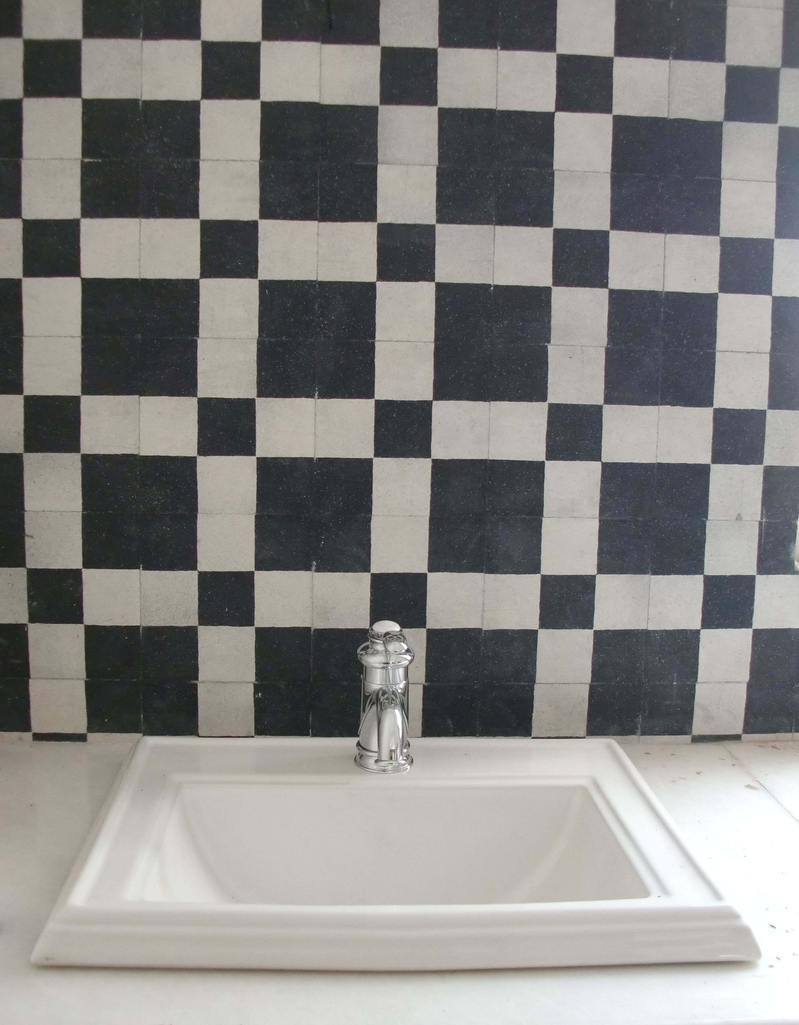 Bathroom in Goa. Heritage Cement tiles in a made to order design ...