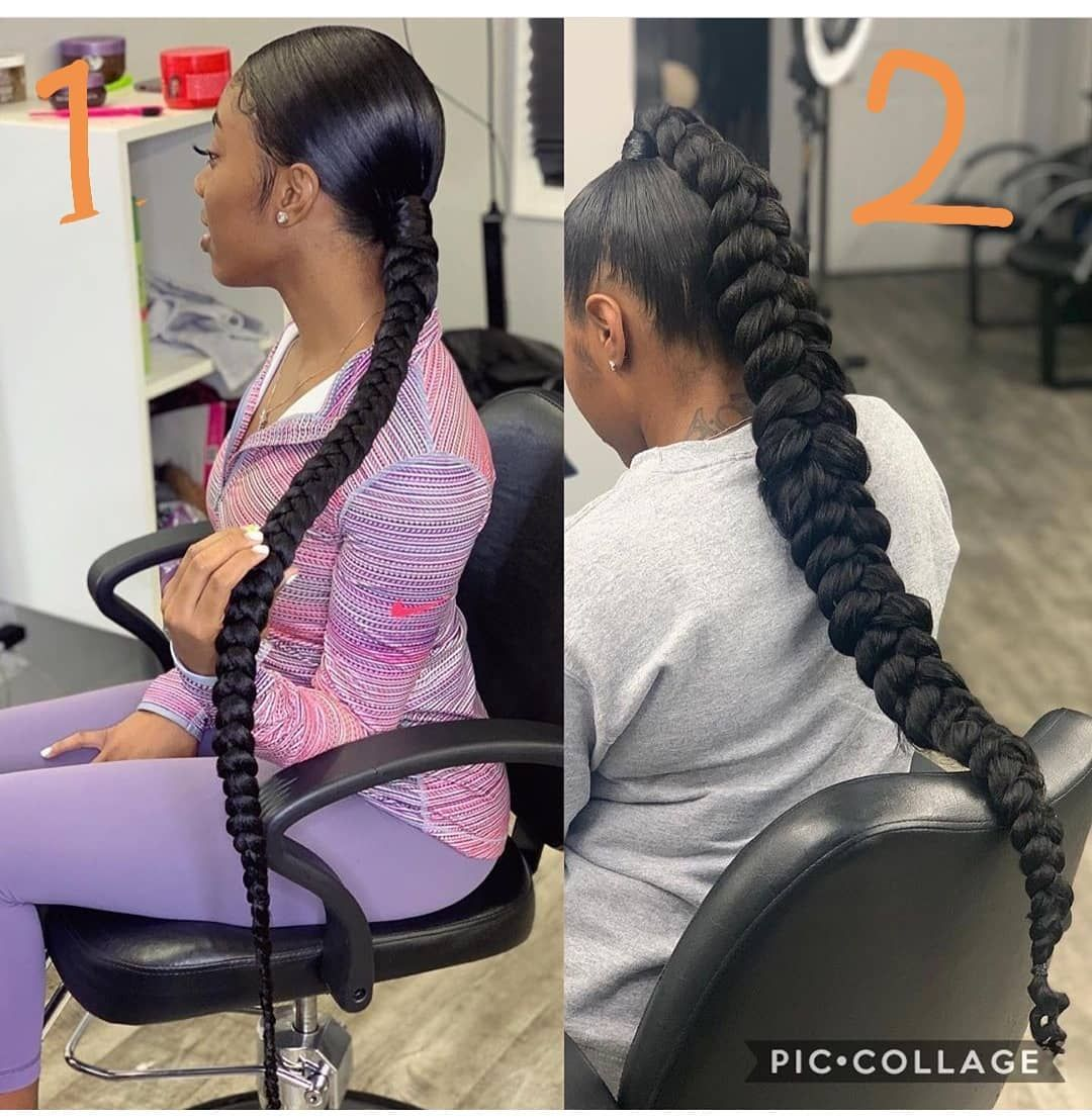 Top African Hairstyles On Instagram Which One 1 Or 2 1 Regular Braided Ponytail 2 Butterfly Sleek Braided Ponytail African Hairstyles Braided Ponytail