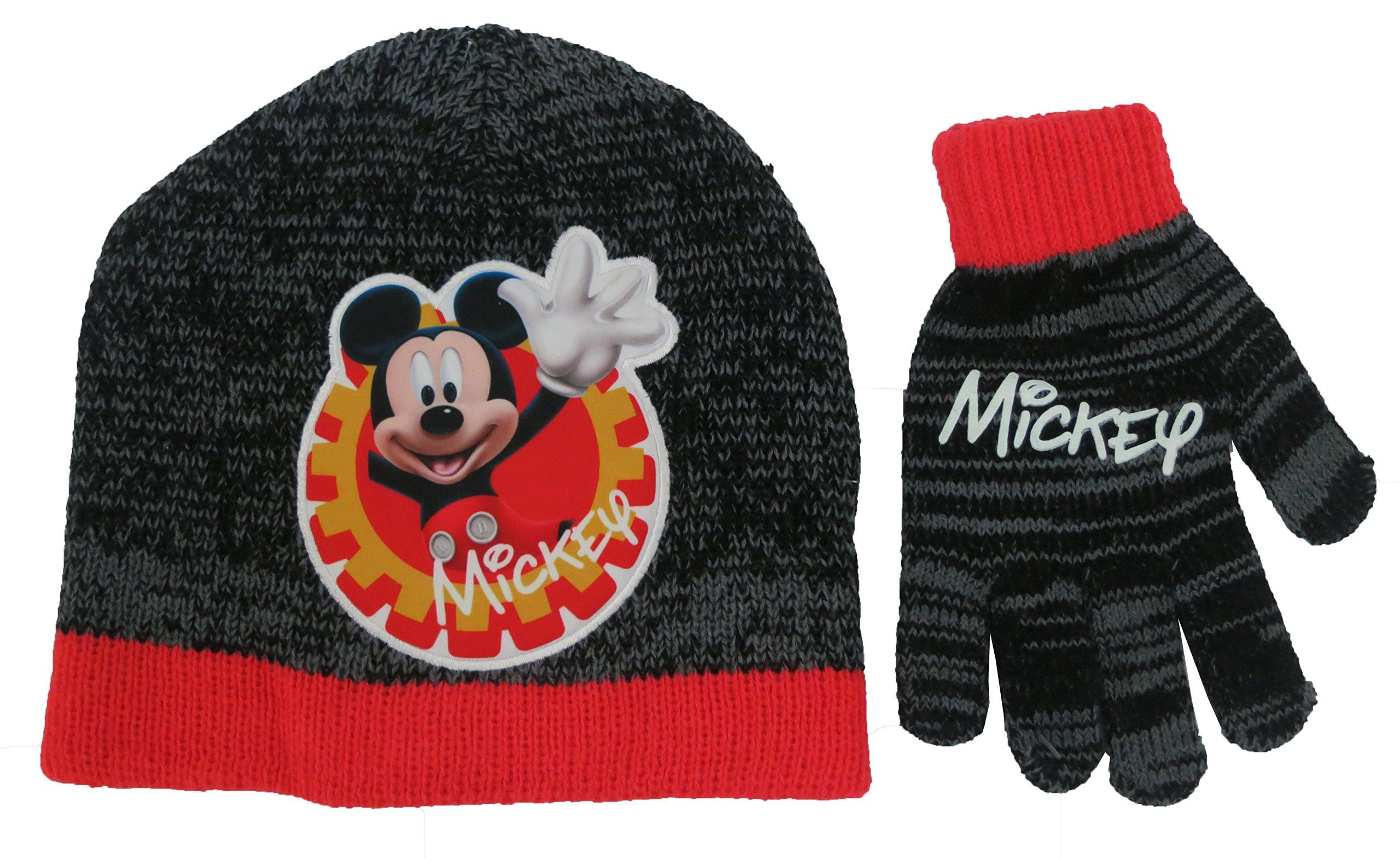 Disney Mickey Mouse Clubhouse Boys Beanie Hat and Glove Set- Size Boys 4-14   4013 . Hat Featuring  Mickey Face Smiling and Hands Waving. Grey and Black  ... 2424de849583