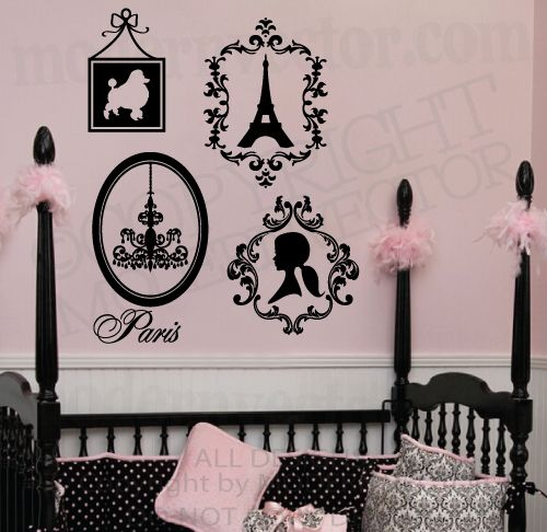 Paris theme vinyl wall decals eiffel tower poodle silhouette chandelier paris