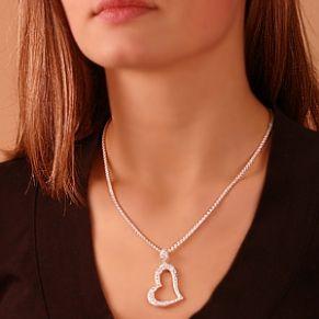 Sterling silver pendant, heart.