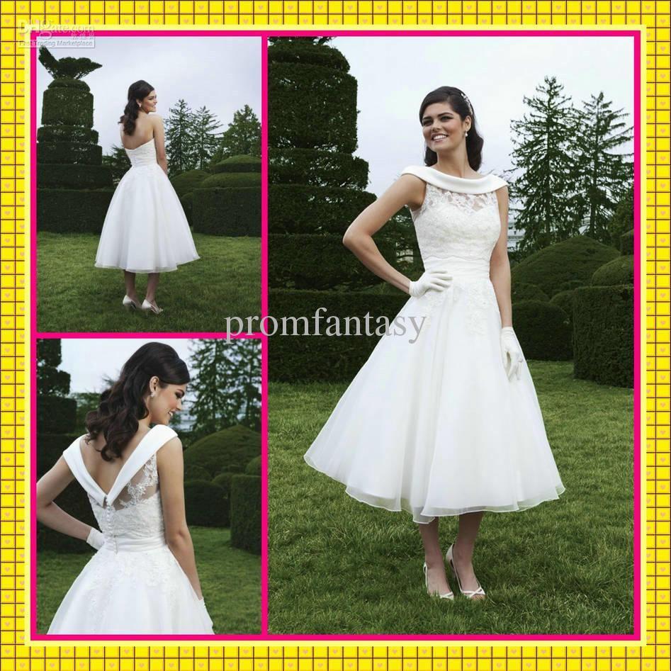 Off the shoulder tea length wedding dress  Wholesale  Vintage Removable Sheer Applique Off Shoulder Jacket