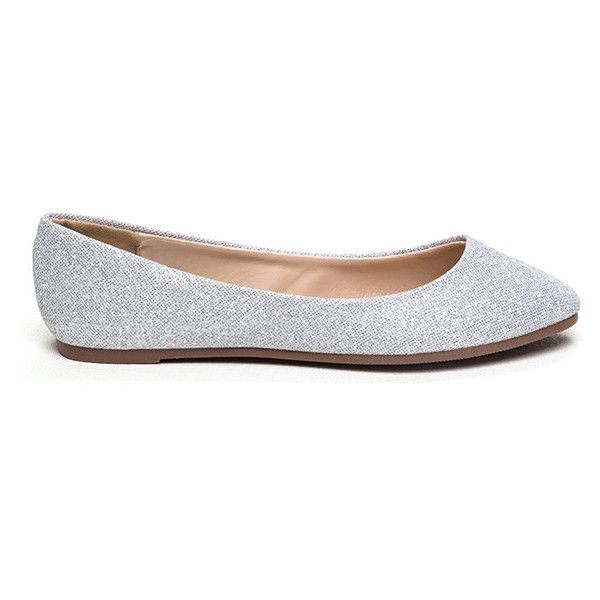 Flawless Round Toe Ballet Flats SILVER ($12) ❤ liked on Polyvore featuring shoes, flats, metal, silver ballet shoes, skimmer shoes, silver ballet flats, silver shoes and round cap