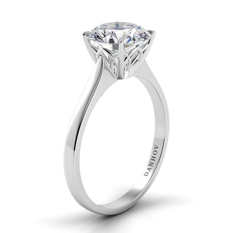 Finest 14KT White Gold Excellent Round Shape 2.20 Carat Solitaire Women/'s Ring