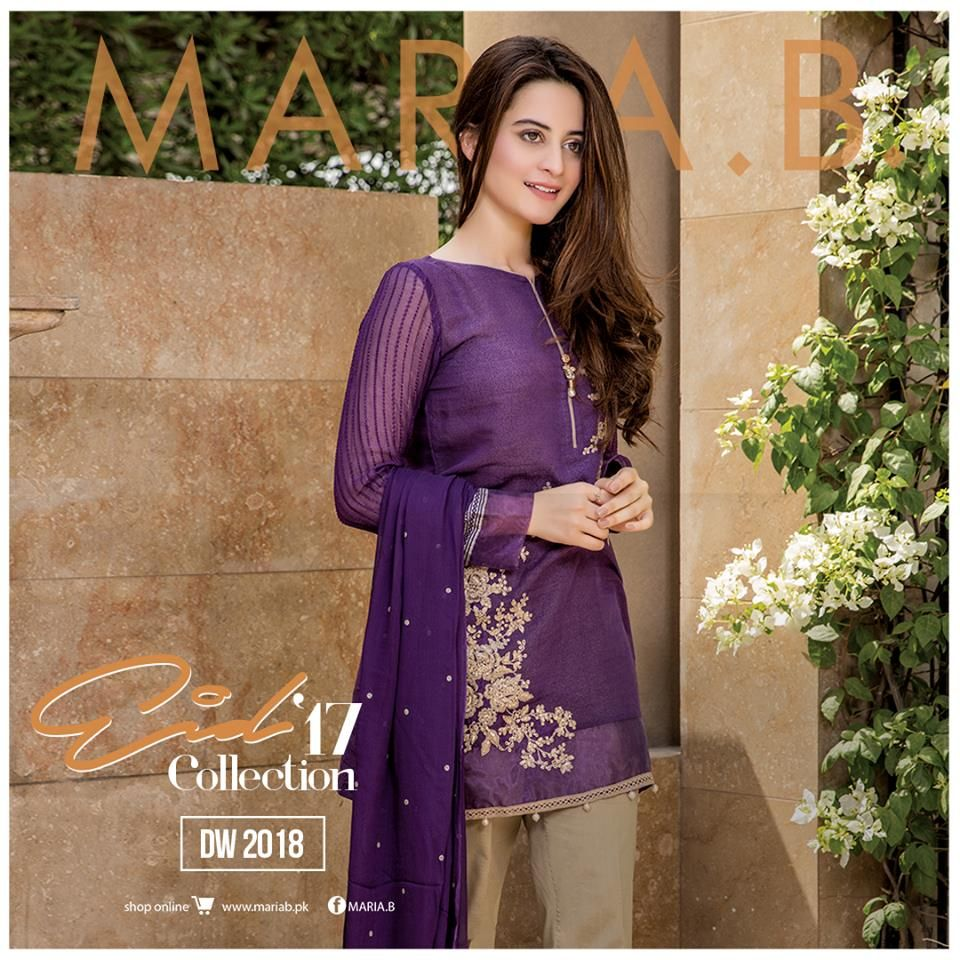 Beautiful Latest Eid Hairstyles Collection 2017 2018 For Women: Maria B Eid Designs Unstitched, Stitched Casual & Party