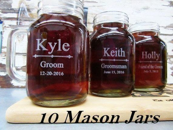 Set of 10 Personalized Groomsmen Beer Glasses  Personalized Mason Jar for Wedding  Wedding Thank You Gifts for Men and Women Set of 10 Personalized Groomsmen Beer Glasses...
