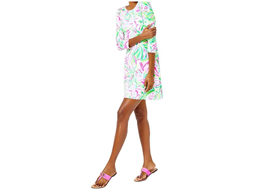 Lilly Pulitzer Ophelia Dress - Women's Dress : Multi Croc My World : Looking great can be this easy. Printed swing dress in luxe stretch rayon slub jersey. Lattice straps and cutouts enliven the upper back. Round neckline. Fitted three-quarter sleeves. Unlined. Slip-on. 95% rayon, 5% spandex. Hand wash cold, lay flat to dry. Imported. Measurements: Length: 36 in Product measurements were taken using size SM. Please note that measurements may vary by size.