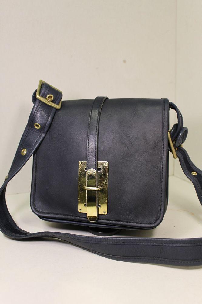 COLLECTIBLE Vintage COACH Navy SMALL COURIER SADDLE BAG Handbag Rare NYC  RETRO  Coach  Courier daea5ae598bb8