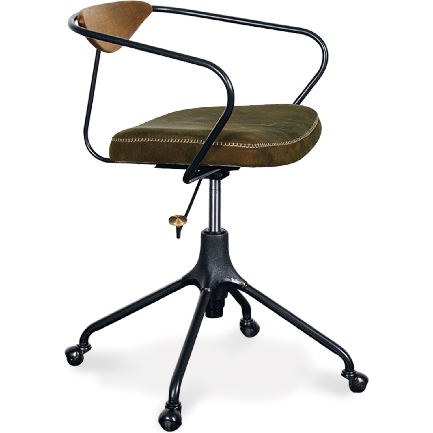 Nuevo Akron Office Chair Jin Green Leather On Matte Black