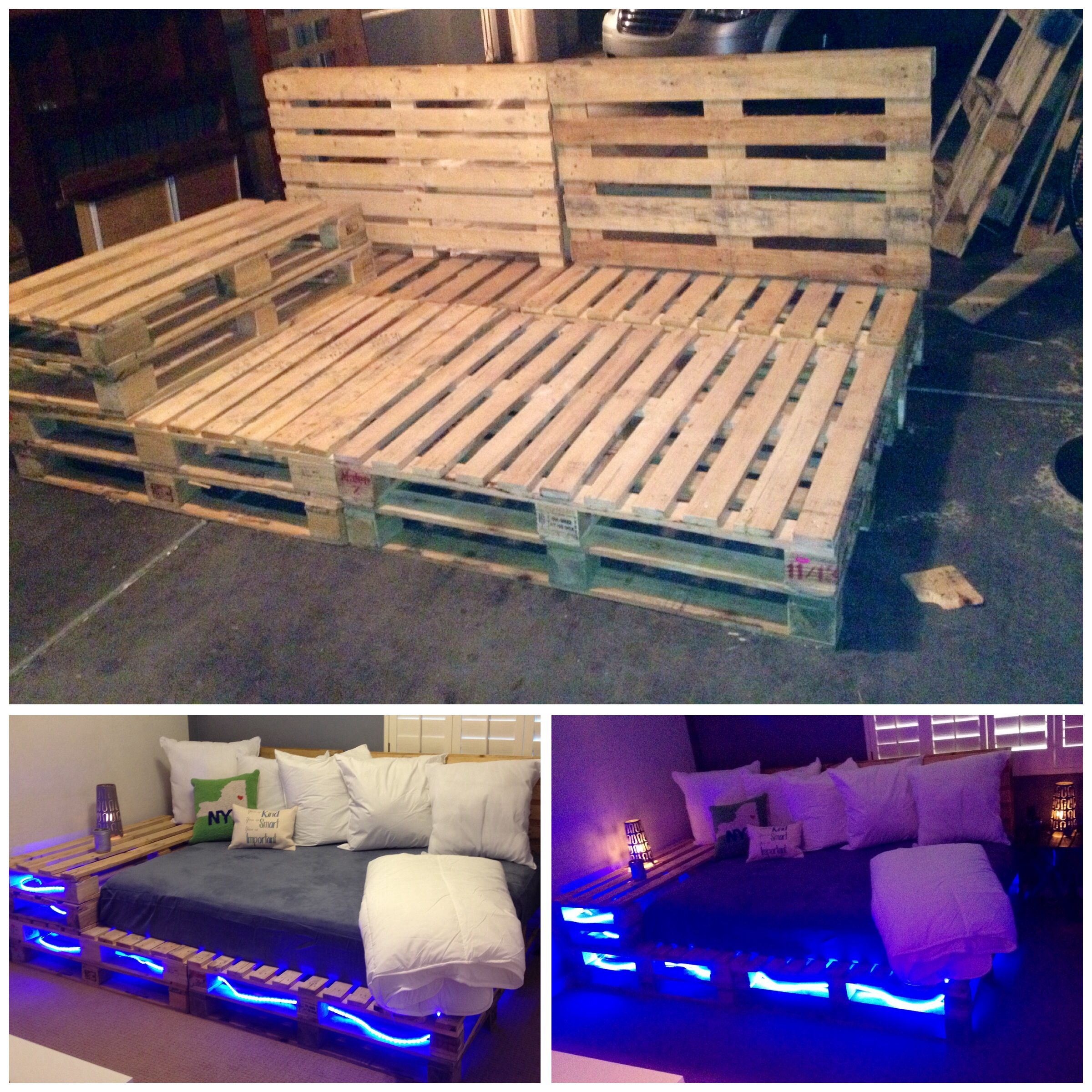 Pallet bed with lights - New Addition To My Home Pallet Full Size Bed