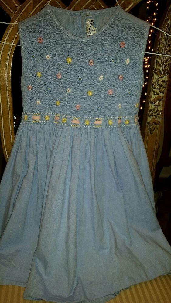 Pervenche Girls  Blue Gingham Smocked Daisy Dress 3  Easter #Pervenche #Dressy