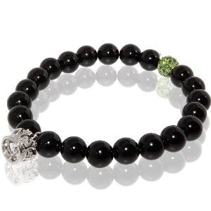 Tourmaline Stretch Bracelet with Solid Crown Charm & Green Rhinestone Bead Accent (Jewelry)  http://documentaries.me.uk/other.php?p=B0077ECTV0  B0077ECTV0