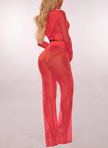 e3c6cba9d9be0 Women See Through Sheer Mesh Hoodie Crop Tops and Legging Pants Sexy 2pcs  Bikini Swimsuit Cover-ups Beach Outfits,#Tops, #Crop, #Pants, #Legging