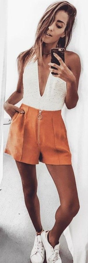 #summer #fashion #trends | White + Burnt Orange