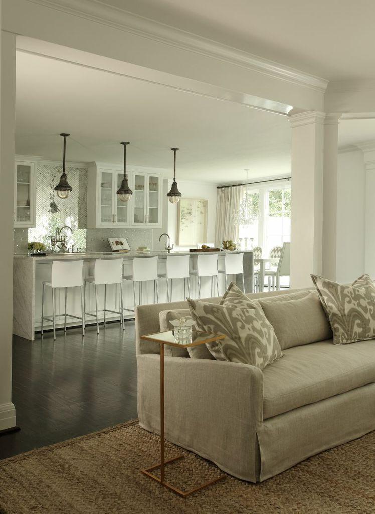 Open Concept Living - www.womanista.com #familyroom #kitchen #whitekitchen #darkhardwoodfloors