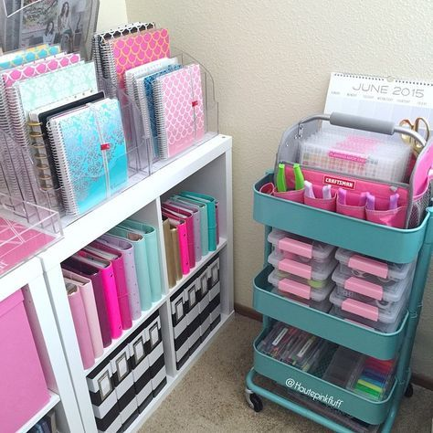 hautepinkfluff: Raskog cart organization: I know everybody shows off their carts here on IG, but I thought I would show mine! I don't keep too many things in it except for my washi tape storage, markers, and my craftsman tote that holds my Etsy stickers and hole punches. #homeoffice #craftroom #stationery