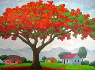 Flamboyan Y Tres Casitas By Luis Cajiga Puerto Rican Painter