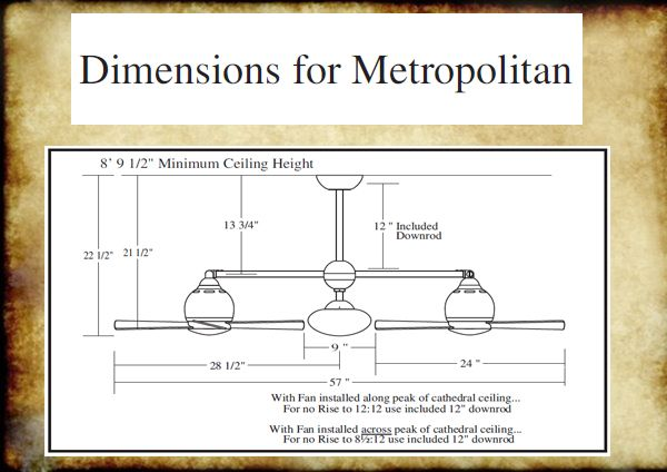 Dimensions For Metropolitan Ceiling Height Ceiling Fan Replacement Parts