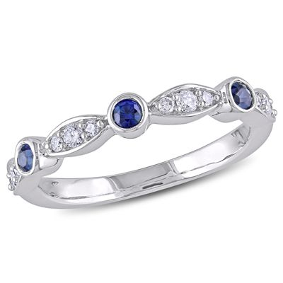 Blue Sapphire and 1/6 CT. T.W. Diamond Ring in 10K White Gold