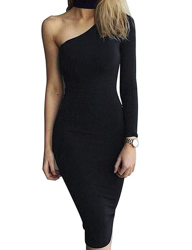 a4171bbb852d Allegrace Women Sexy One Shoulder Long Sleeve Bodycon Stretch Bandage Party Dress  Price   14.96