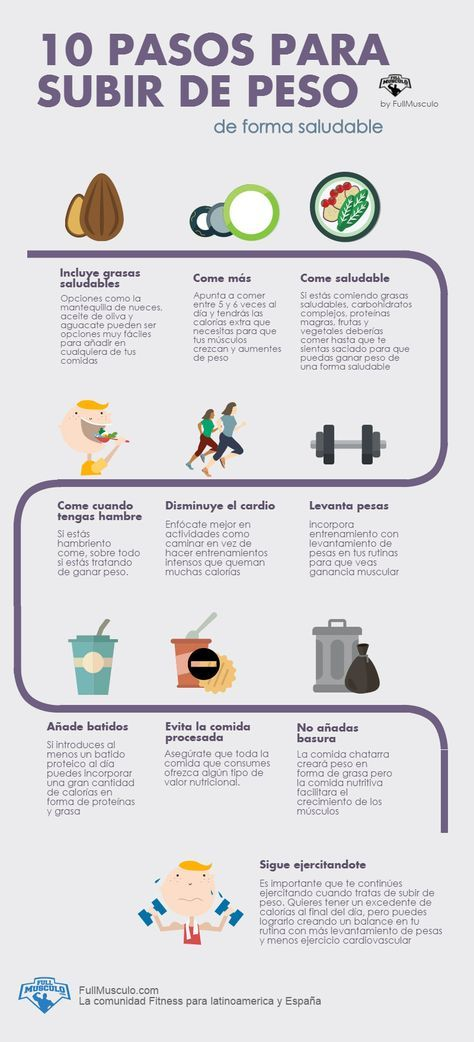 Dieta para subir de peso sano