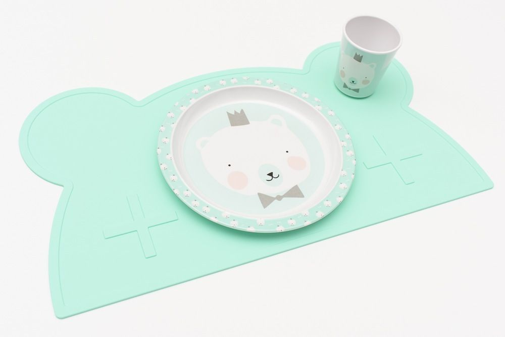 BPA Free and Dishwasher Safe Silicone Placemat for Babies and Children in Grey Cat Design