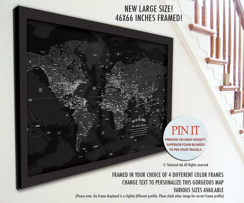 Push Pin Map Travel Home Decor Retirement Gift Framed Pin Map