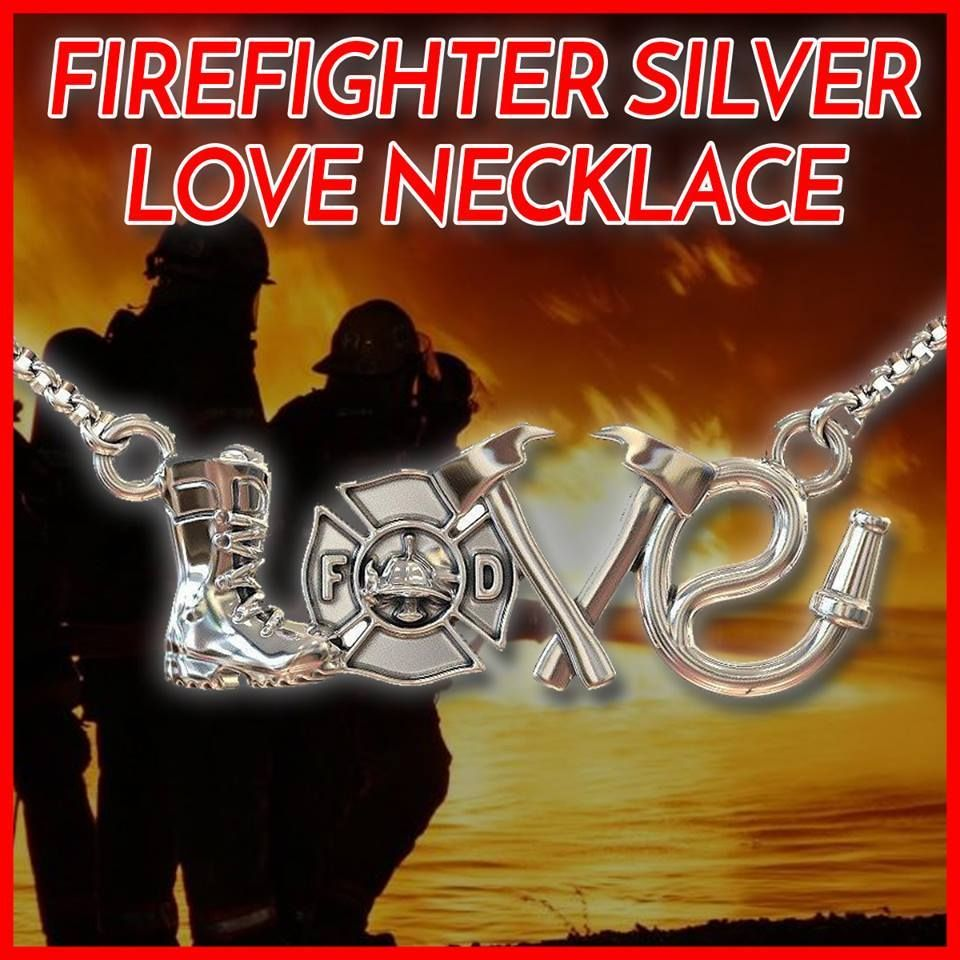 Gorgeous Firefighter Sterling Silver Love Necklace Love Necklace