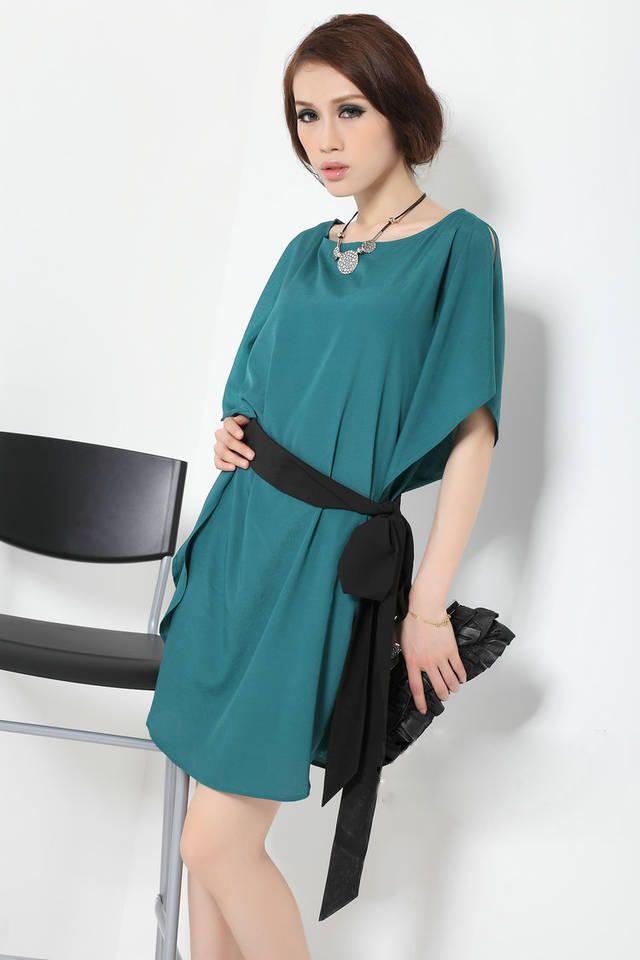 Green Elegant Loose Fit Short Sleeves Simple Korean Style Dress 1
