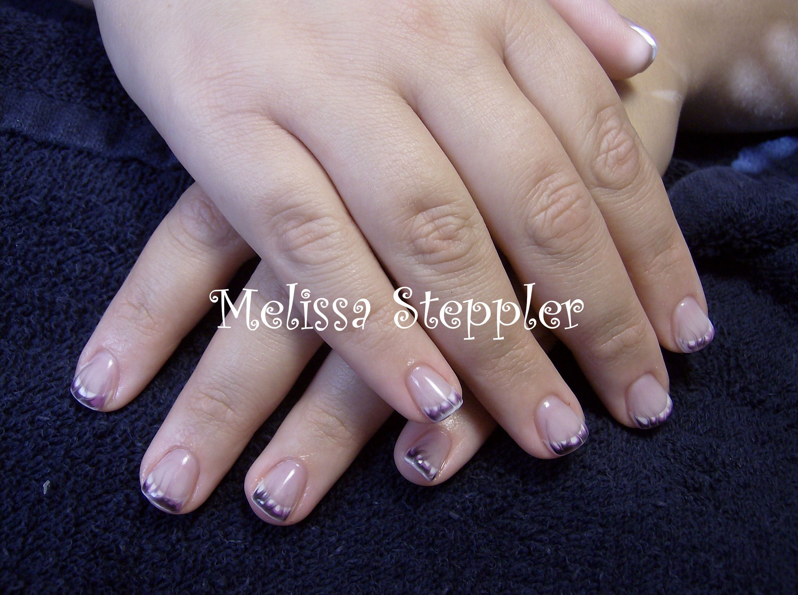 CND Brisa gel french with black and purple flame | The Turtle Nail ...