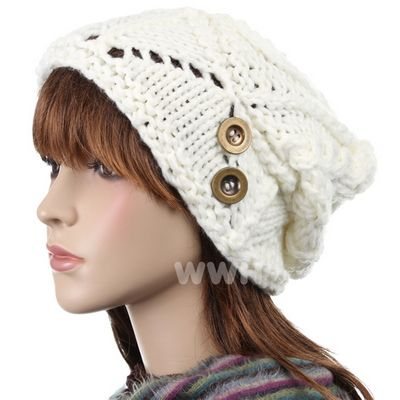 Button trendy beanie cap hat winter knit