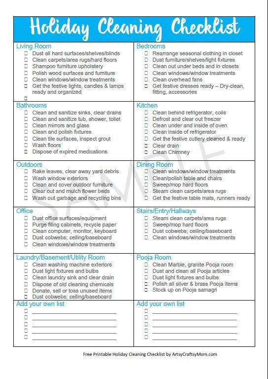 Holiday Cleaning Free checklist for a Guest-Ready Home Cleaning - spring cleaning checklist