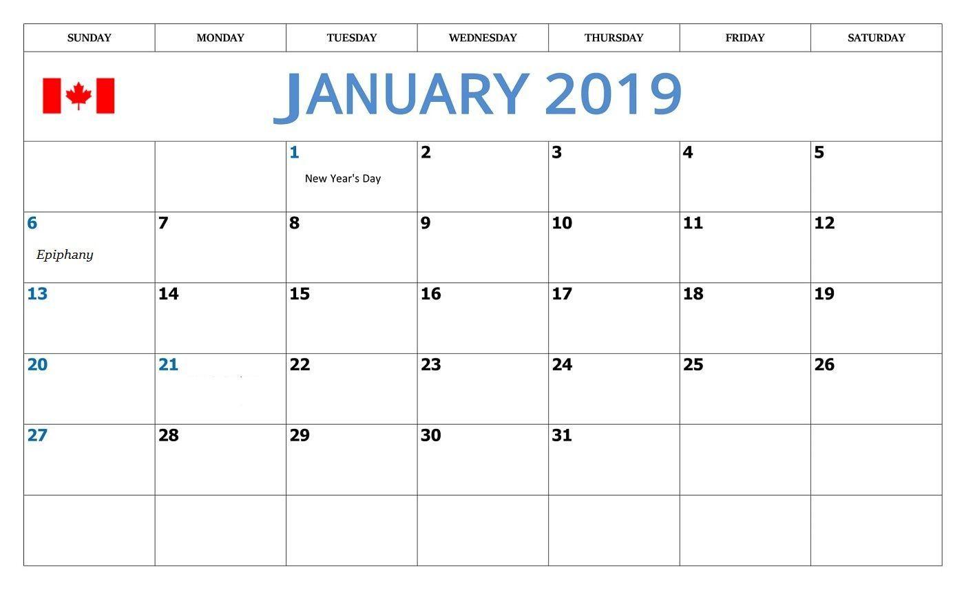 January Calendar With Canadian Holidays January