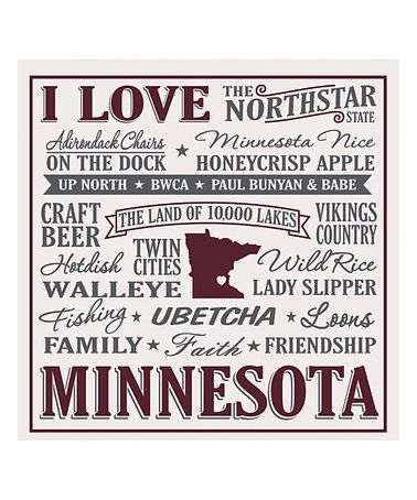 This I Love Minnesota Wall Sign Is Perfect Zulilyfinds
