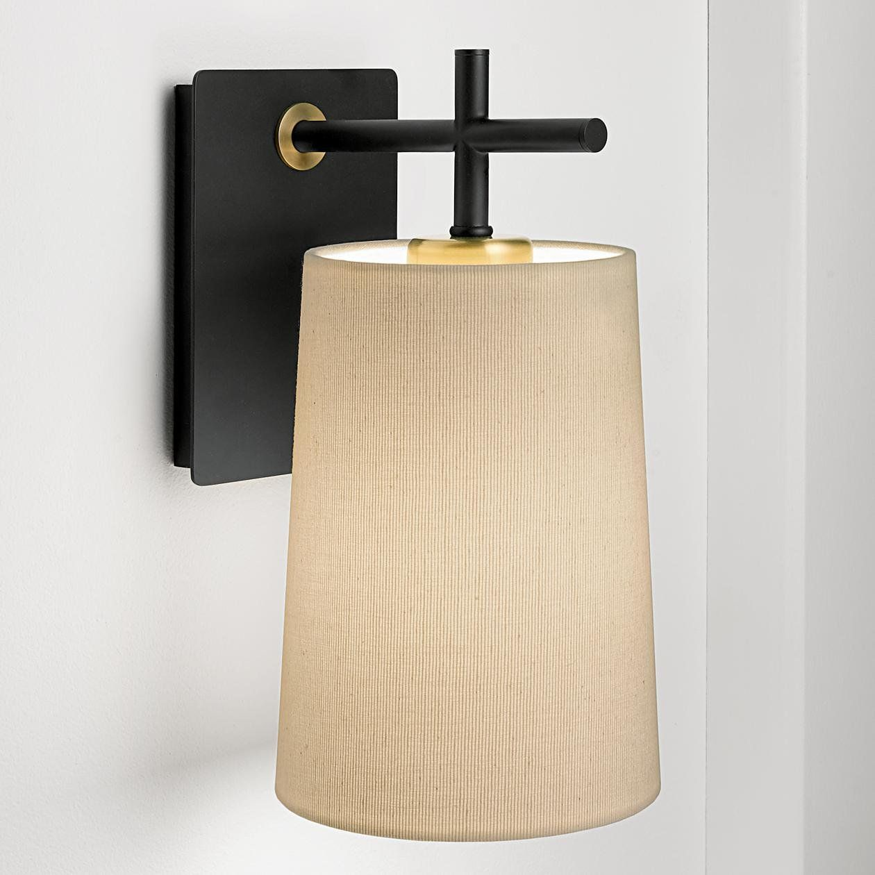 Satin Black And Brushed Brass Wall Light Shade Wall Light