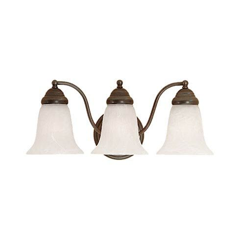 Photo of Millennium Lighting 333-CB Three-Light Bath Light w / Faux Alabaster Glass in Colonial Bronze, Traditional | Bellacor