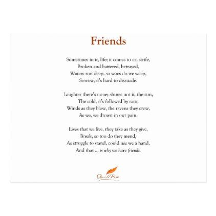 Friends Poem Postcard - birthday gifts party celebration custom - celebration letter