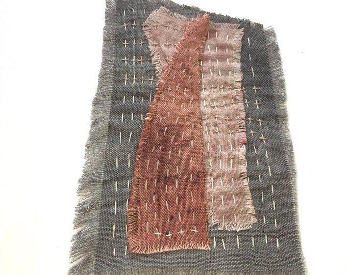 Sashiko boro slow stitch and pins by NadinArtStudi